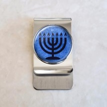 Blue Menorah Judaism Stainless Steel Money Clip - $20.00