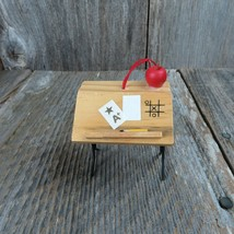 Vintage School Desk Ornament Wooden Christmas Wood Old Fashioned Apple T... - $24.74