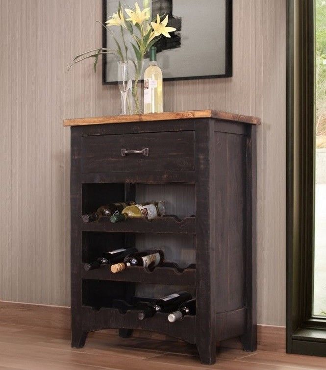 Anton Distressed Black Wine Rack