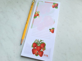 Strawberry Notepad with Magnet, 50 Sheets, Vintage Inspired Strawberries Pad image 2