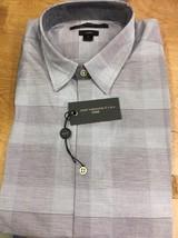 John Varvatos Luxe Short Sleeve Dress Shirt Grey Maroon Size  XLarge - $469,42 MXN