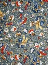 Christmas Animals Snow & Swirl Blue Cotton Fabric Woodland Dream by The Yard - $26.22