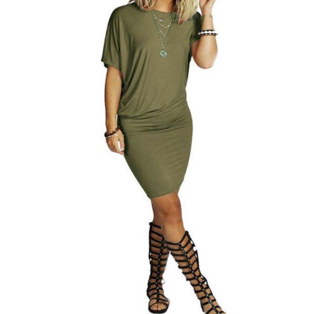 Stylish Irregular Batwing Sleeve Women Bodycon Dress