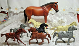 Vintage Collection of 8 Plastic Toy Horses - Toy Box Rescue