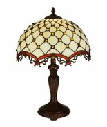Amber Jeweled Table Lamp w Tiffany Style Creme Stained Glass Lamp Shade - $374.22