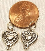 RAISED EMBOSSED HEART STERLING SILVER CHARM image 2