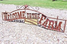 Metal Welcome to the FARM Sign for Wall Entry Gate 44 3/4 inch bz - $124.98