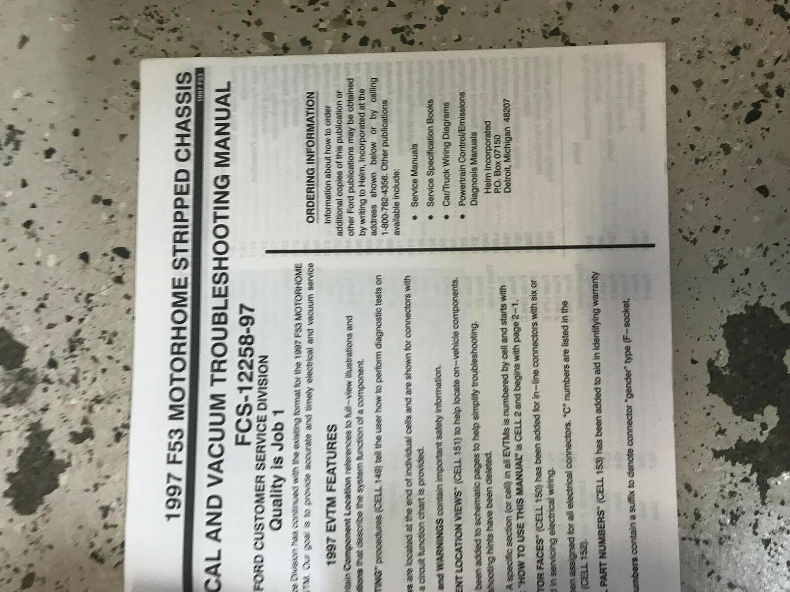 1997 FORD F-53 Motorhome Stripped Chassis Electrical Wiring Diagram Manual EVTM