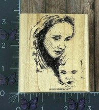 Stampin' Up! Woman And Child Sketched Rubber Stamp 2001 Wood Mount #W102 - $4.46