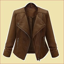 Retro Big Lapel Brown Faux Leather Oblique Zipper Motorcycle Jacket image 1