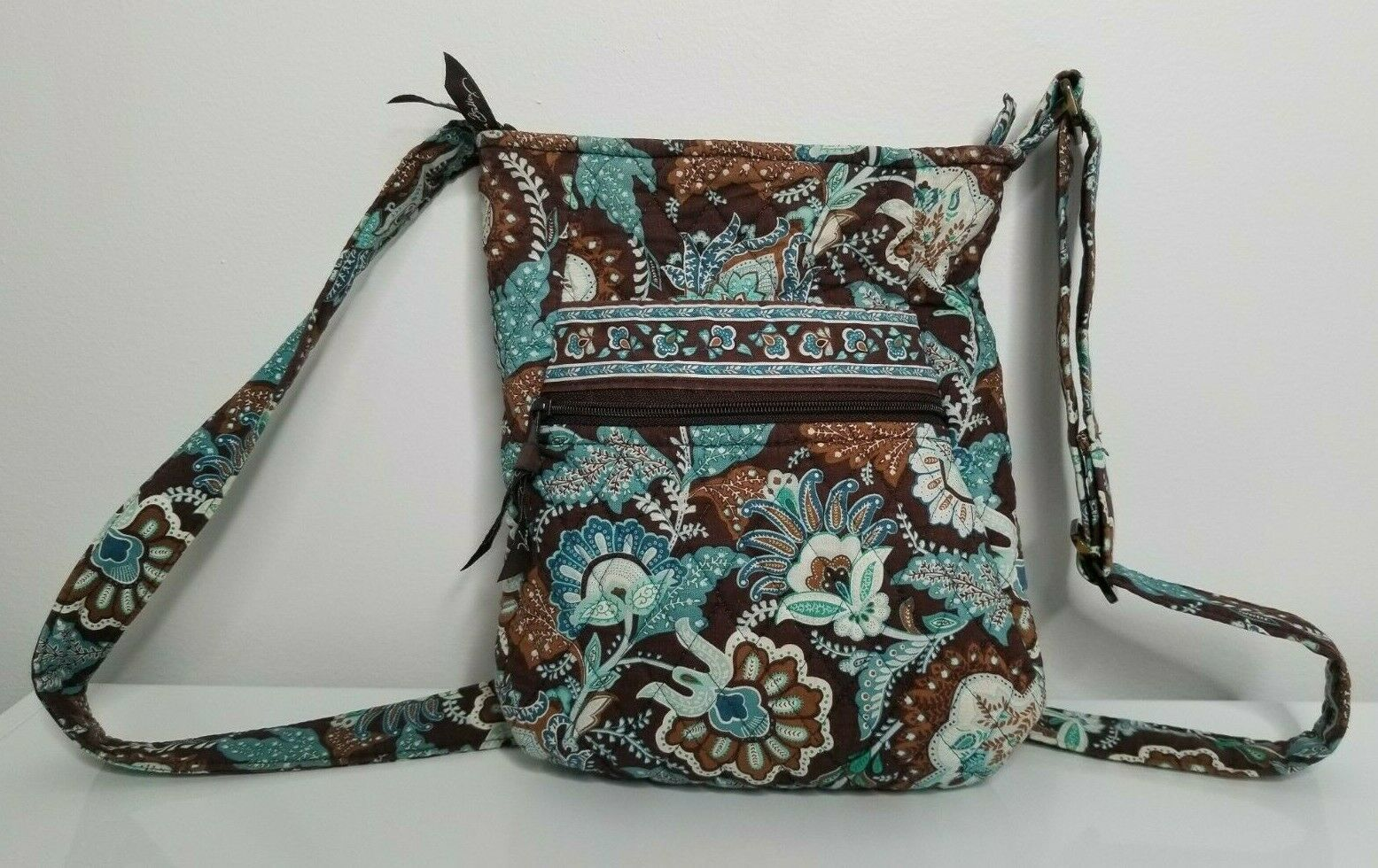Primary image for Vera Bradley Blue Java Brown Zipper Hipster Crossbody Shoulder Purse
