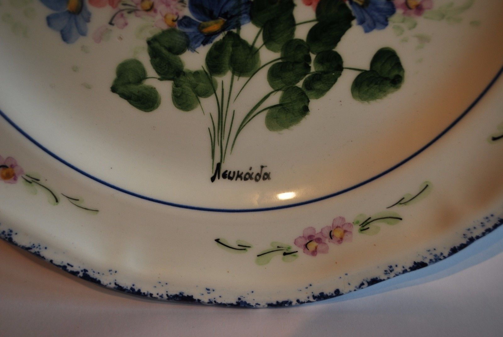 Quimper Style Wall Hanging Plate With Hand Painted Flowers    #7002