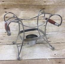 VTG MCM Cradle Trivet Holder Metal Wood Teak Handles Bowl Dish Tea Light  - $14.92
