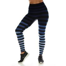 K-Deer Women's Blue/Black/Grey Emme Stripe Sneaker Length Leggings, XS-4X image 3