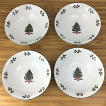 Christmas Tree and Holly Holiday Coupe Cereal Bowl Gibson Everyday Set of 4 - $24.95