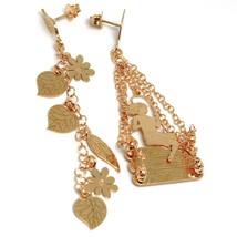 Drop Earrings 925 Silver, Leaves, Flowers, Girl on Swing, le Favole image 1