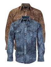 LW Men's Western Cowboy Pearl Snap Long Sleeve Slim Fit Rodeo Shirt NEW W/O TAGS