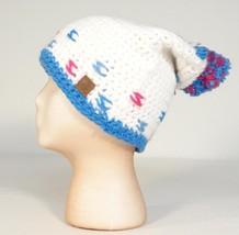 Roxy Snow Collection White Pink & Blue Bulky Knit Beanie Pom Pom Ski Cap... - $22.27