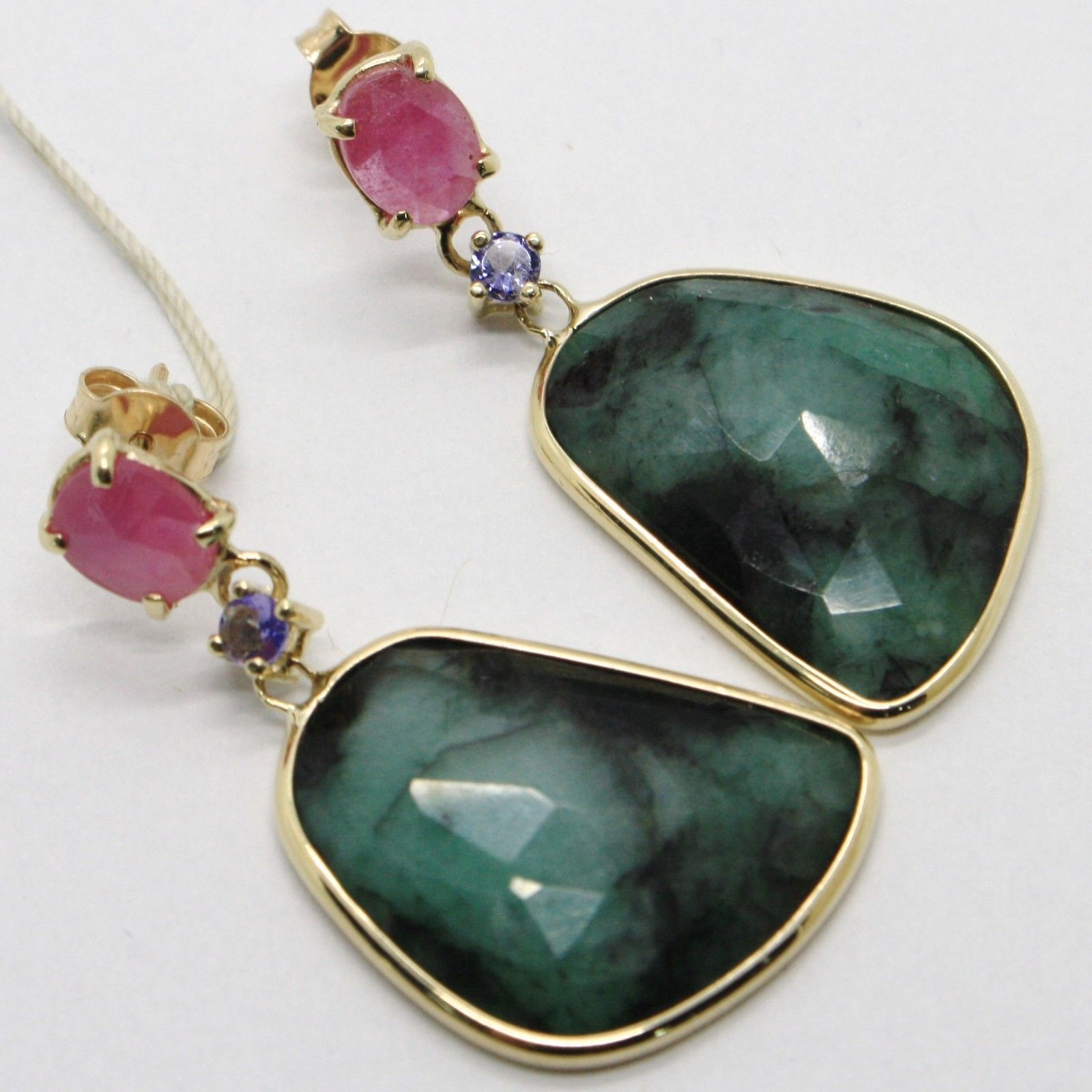 YELLOW GOLD EARRINGS 9K WITH SAPPHIRES PINK AND WITH EMERALDS MADE IN ITALY