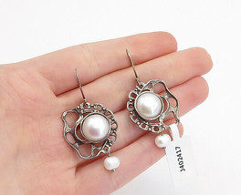 NETA ISRAEL 925 Silver  - Vintage Freshwater Pearls Dangle Earrings - E9272 - $41.89