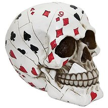 Poker Face Cards Skull Collectible Figurine - $14.85
