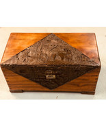 Vintage Unique Wooden Hand Carved Wood Design Storage Chest  PICKUP ONLY - $43.54