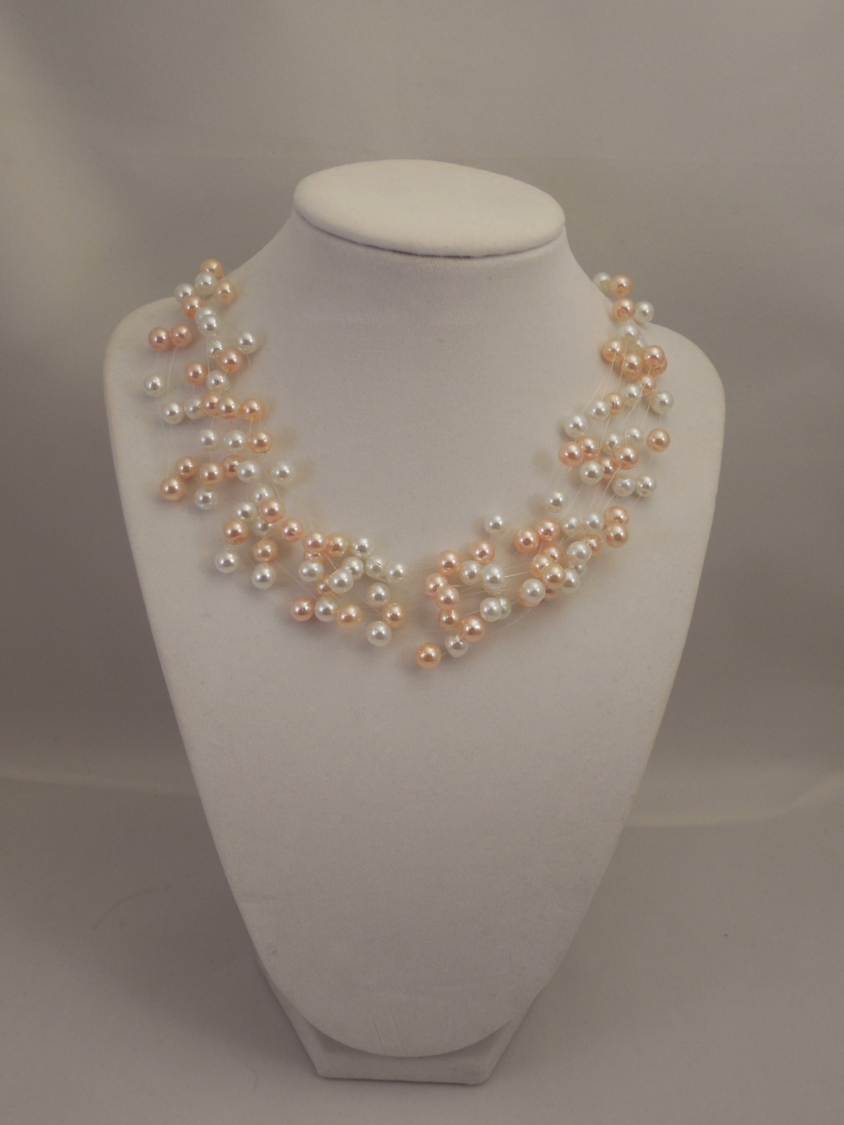 Illusion Multi Strand Necklace with 6mm White and Peach Pink Glass Pearls