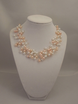 Illusion Multi Strand Necklace with 6mm White and Peach Pink Glass Pearls - $43.00
