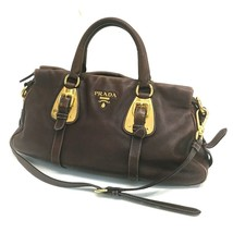 AUTHENTIC PRADA Leather Shoulder Bag Hand Bag with Strap Brown/Gold - $410.00