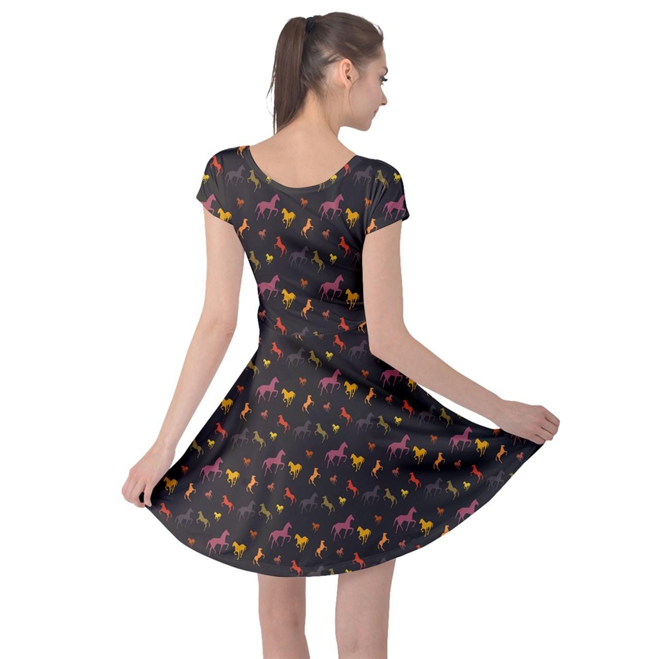 Horse Silhouettes Printed Women's Elastic Swing Cap Sleeve Dress (XS-5XL, Gray)