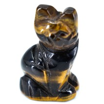 Tiger's Eye Gemstone Tiny Miniature Kitty Cat Figurine Hand Carved in China image 2