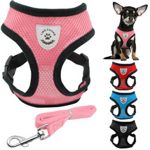 New Soft breathable air nylon mesh puppy dog pet cat harness and leash set - $12.85+