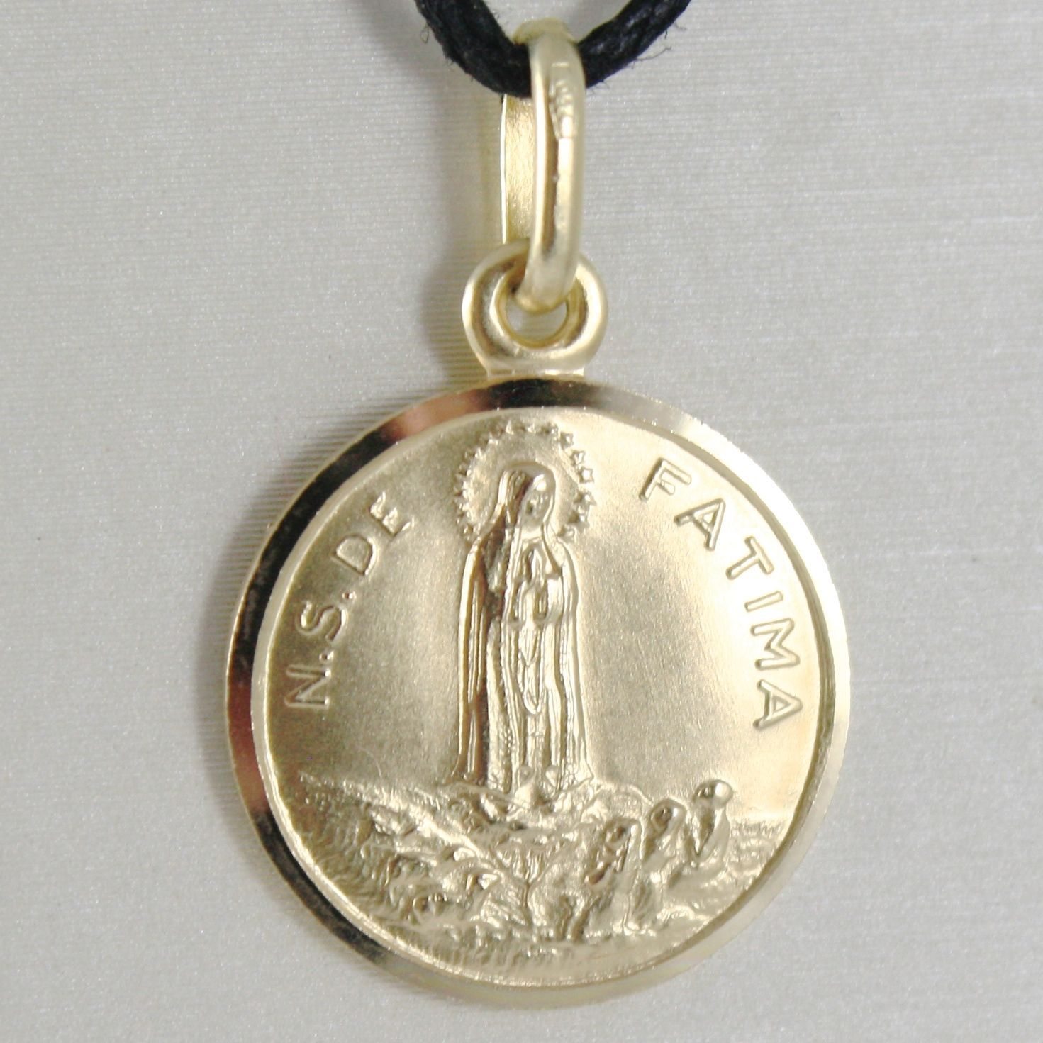 PENDANT MEDAL YELLOW GOLD 750 18K, MADONNA, NOSTRA SIGNORA BY FATIMA, 15 MM