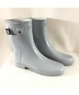Hunter Womens Rain Boots Original Refined Short Gloss Light Gray Rubber ... - $62.88