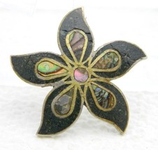 VTG Sterling Silver .925 A.GARCIA Mother of Pearl Abalone Flower Pin Brooch - $49.50