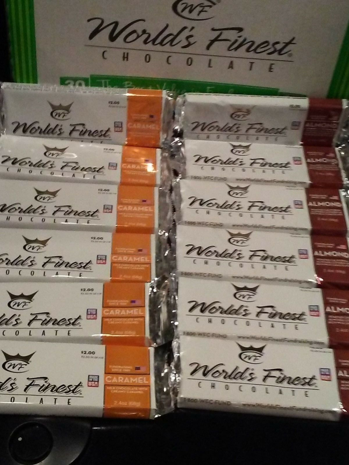 Primary image for WORLD'S FINEST CHOCOLATE (6) Caramel & (6) Almond  x $2.00 Ea Bars