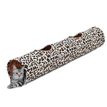 Cat Tunnel Pet Cat Toys Leopard Print Crinkly Cat Fun 2 Holes Long Tunne... - £14.56 GBP