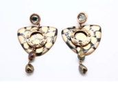Gold Tone Chicos Fashion Earrings With Plastic Rhinestones 46.5g