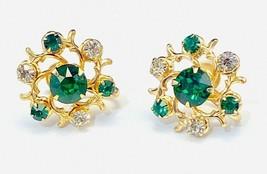 VTG signed Coro Emerald Green & Clear Rhinestone screw-back wreath earri... - $24.75