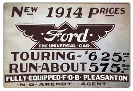 1914 Ford Car Garage Shop Reproduction Metal Sign 12x18 - $25.74