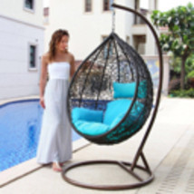 Outdoor Wicker Swinging Chair Hanging Hammock Chair w/Stand Patio Porch ... - $569.96