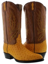 mens yellow butter real ostrich skin crocodile leather western cowboy boots - €258,24 EUR