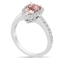 Platinum Pear Shape Morganite Engagement Ring, 1.58 Carat Halo Unique Ha... - $2,780.00