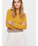 FREE PEOPLE New Age Crewneck Sweater Pullover Yellow Mult Sz - $44.99
