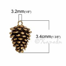 Pine Cone Charms 34mm Antiqued Gold Plated Autumn Pendants C5558 - 2, 5 ... - $10.00+