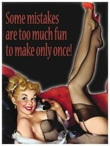 Some Mistakes, Funny/Comedy, Pin-up Girl, Joke YOLO Medium Metal Steel W... - $10.80