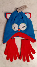 Axxents Child's Blue White Red Soft Knit Owl Winter Hat With Free Red Gl... - $12.99