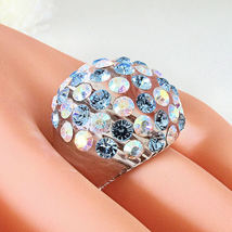 Clear Acrylic Domed Ring Numerous Blue & Rainbow Swarovski Elements Crystal Dome image 5