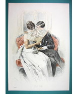 LOVERS Kiss Behind a Fan - COLOR VICTORIAN Era Print Engraving - $12.15
