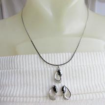 Vintage JF STERLING Silver Filigree Hematite Pendant Necklace Earrings S... - $35.99